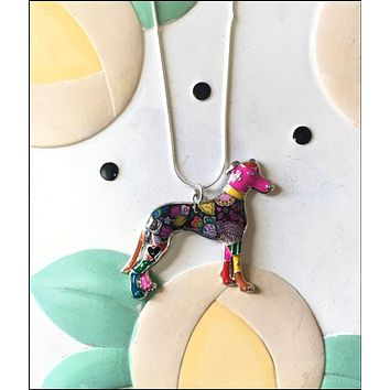 Whippet Enamel Charm Necklace