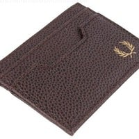 Rich Chocolate Scotch Grain Card Wallet by Fred Perry