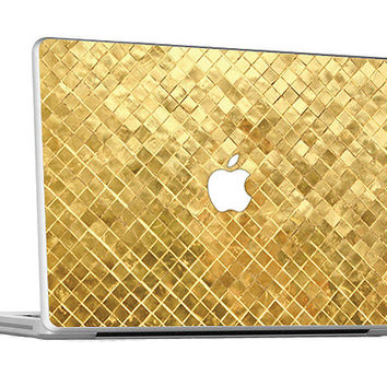 "Gold Square Metal Pattern  Skin Cover Vinyl Decal Macbook Laptop 11"", 13"" , 15"" or 17"" KM060"