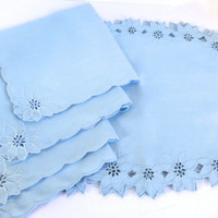 Vintage Christmas Poinsettia Placemats/ Napkin Set / Light Blue Linen