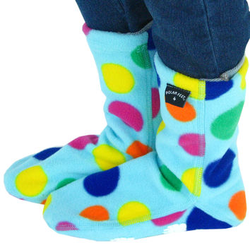Kids' Nonskid Fleece Socks - Dotty