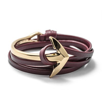 Gold Anchor Half-cuff On Burgundy Leather Bracelet
