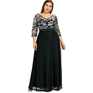 Gamiss Plus Size Sequined Floral Maxi Prom Women Party Long Dress 3/4 Length Sleeves Floral High Waist Woman Formal Dresses 5XL