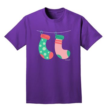 Cute Mrs and Mrs Christmas Couple Stockings Adult Dark T-Shirt by TooLoud