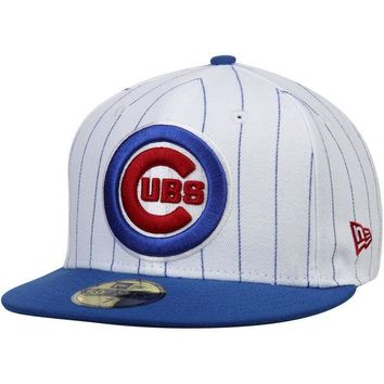 Men's New Era Chicago Cubs White/Royal Pinstripe 59FIFTY Fitted Hat