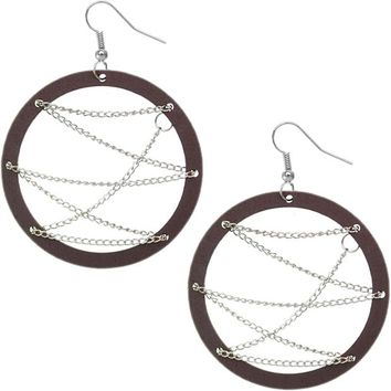 Brown Wooden Zigzag Chain Hoop Earrings