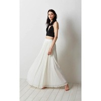 Stevie White Pleated Maxi Skirt