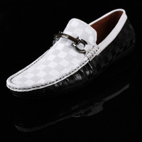 2016 New Spring/Autumn Breathable Men's Casual Genuine Leather Black/White Flat Take Driving Flats Moccasin Shoes