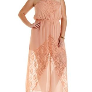 Plus Size Coral Lace & Chiffon Maxi Dress by Charlotte Russe