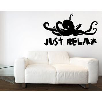 Large Wall Decal Beach Labels Stickers Octopus Animal Nautical Vinyl Sticker (n1055)