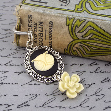Owl Cameo Feather Charm Bookmark