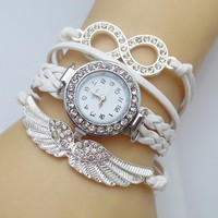 8 Letter Wing Bracelet Watch Women Rhinestone
