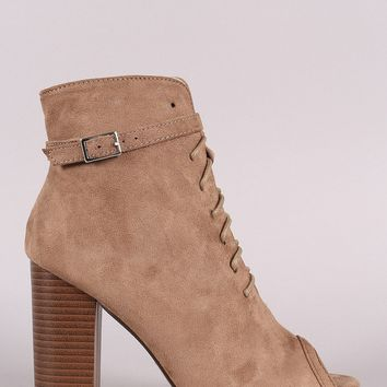 Peep Toe Buckled Lace-Up Chunky Heeled Suede Ankle Boots