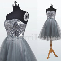 Sequins Lace Sweetheart Strapless A-Line Short Bridesmaid Celebrity dress ,Tulle Evening Party Prom Dress Homecoming Dress