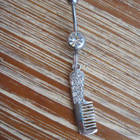 Belly Button Ring - Body Jewelry - Rhinestone Comb with Clear Gem Belly Button Ring
