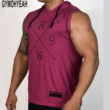 GYMOHYEAH Fashion Men's Bodybuilding Hoodies Sleeveless Hoodie Tracksuit Tops Muscle Vest Gyms Clothing Casual Workout Tanks Top