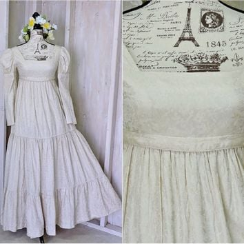 Renaissance dress / XS 2 / 4 /  Ivory silk embroidered Celtic gown / Vintage Bohemian maxi dress  / Boho wedding dress