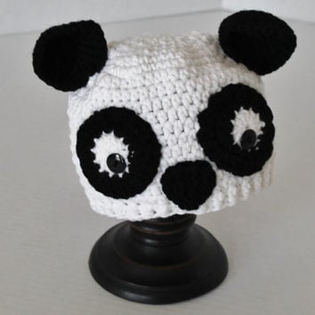 Crochet Hat, Childrens Animal Hat, Panda Hat, Beanie Hat, Winter Hat, Child Photo Prop