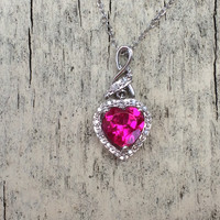 REAL Diamond Accent Silver Ruby Heart Necklace