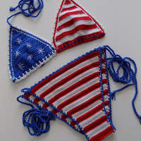 Crochet Bikini,American Flag 4th of July /Usa Flag bikini,4th of july american flag bikini top and bikini bottom brazilian bikini