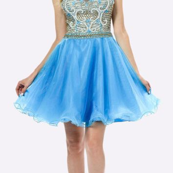 Sleeveless Sweet Sixteen Dress Embellished Bodice Tulle Skirt Blue