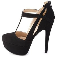 Cut-Out T-Strap Platform Pumps by Charlotte Russe - Black