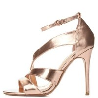 Curved Metallic Dress Sandals by Charlotte Russe