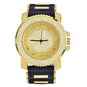 Gold Frame Iced Out Watch