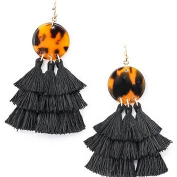 Abstract Leopard Tassel Earrings, Two Colors