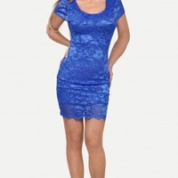 Blue Enticing Lace Surface Backless Bodycon Dress