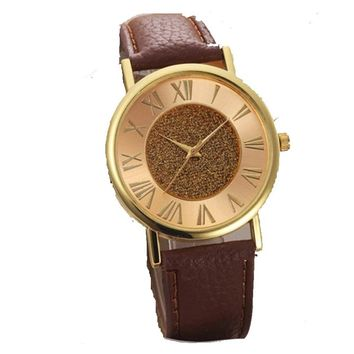 Casual PU Leather Analog Roman Numerals Wristwatch