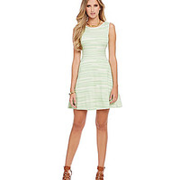 M.S.S.P. Variegated Stripe-Print Sleeveless Ponte Dress - Yellow Green