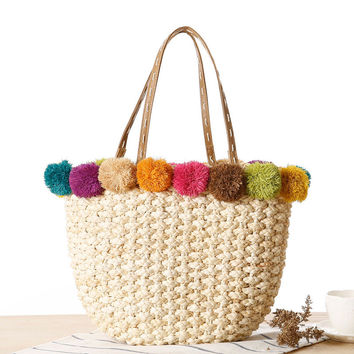 2016 Raffia & Corn Skin Woven Women Handbags Straw Bag Summer Manual Women Shoulder Bags for Women Tote Beach Bag Gift L1075