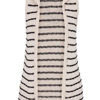 Hooded Sweater Vest With Stripes - Beige