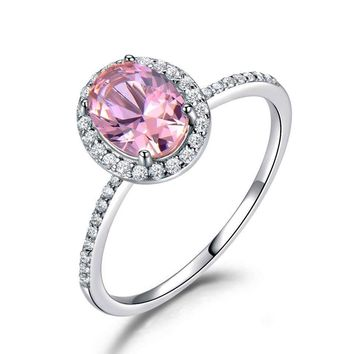 Opulent Pink Sapphire Oval Ring- Silver