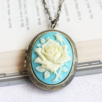 Big Cameo Locket Necklace Rose Pendant Aqua Turquoise Rose Cameo Necklace Gift for Mother Romantic Vintage Style Photo Locket Long Chain
