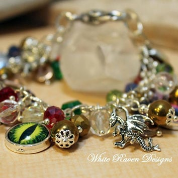 Beaded Charm Bracelet - Here Be Dragons - Fantasy themed jewellery - Handcrafted by White Raven Designs