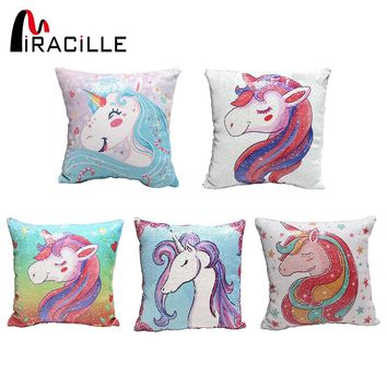 Miracille Sequins Unicorn Cushion Cover For Sofa Square Kid's Cartoon DIY Reversible Mermaid Throw Pillow Covers Home Decor