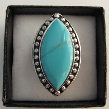 Sterling Silver Large Heavy Native American AAA Turquoise Ring Sz 8 - 13.12g