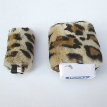90s Furry Animal Print Cigarette Case with Leopard Print Bic Lighter Cover, Faux Fur, Womens Cigarette Box Holder, Furries