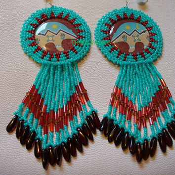 Native American Style Rosette beaded Zuni Bear earrings