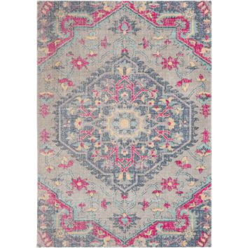 Tessera III Rug ~ Bright Pink/Dark Blue/Medium Gray