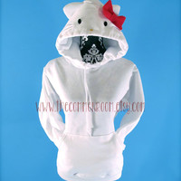 Hello Kitty Inspired Handmade Adult Hooded Sweatshirt