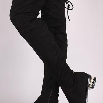 Qupid Suede Drawstring-Tie Faux Pearl Heeled OTK Boots