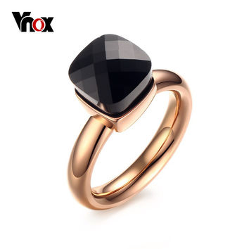 Vnox Trendy Engagement Rings for Women Jewelry with Colorful Glass Stones Rose Gold Plated Stainless Steel Female Rings