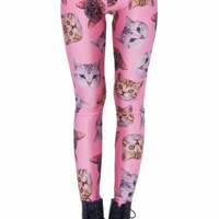 Romwe Women's Different Kinds Of Cute Cat Heads Patterns Print Polyester Leggings-Pink-S