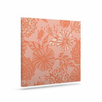 "Julia Grifol ""Romantic Garden"" Coral Floral Vector Art Canvas"