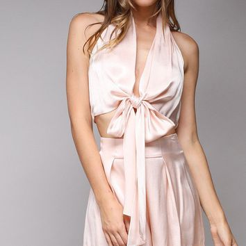 Escape With Me Pink Sleeveless V Neck Tie Halter Crop Top Two Piece Romper Set