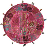 "32"" Large Pink Indian Patchwork Embroidered Floor Pillow Cushion Cover Sham"