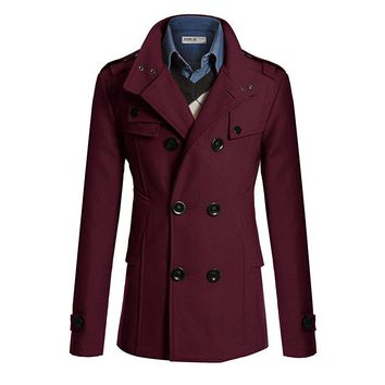 Hot Sale Trench Coat Men Double Breasted British Style Cashmere Mens Trench Coats High Quality Woolen Jacket Mid Long Overcoat